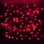 Серпантин Гирлянда электрическая LED Нить 200 красная,16,5м  прозр.провод
