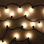 Серпантин Гирлянда электрическая LED Н 50 Шар 1.8 см белый, 5м черный провод с удлинителем