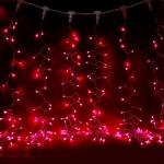 Серпантин Гирлянда электрическая LED Дождь 432 прозрачная красный  2х3 м