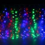 Серпантин Гирлянда электрическая LED Дождь 276 прозрачная (мульти), (2х1,5м.)