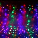 Серпантин Гирлянда электрическая LED Дождь 432 прозрачная (мульти) 2х3 м
