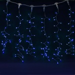 Серпантин Гирлянда электрическая LED Дождь 276 прозрачная (синяя), (2х1,5м.)