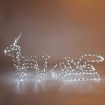 Серпантин Фигура LED Дюралайт Олень с санями 50см белый (3D)